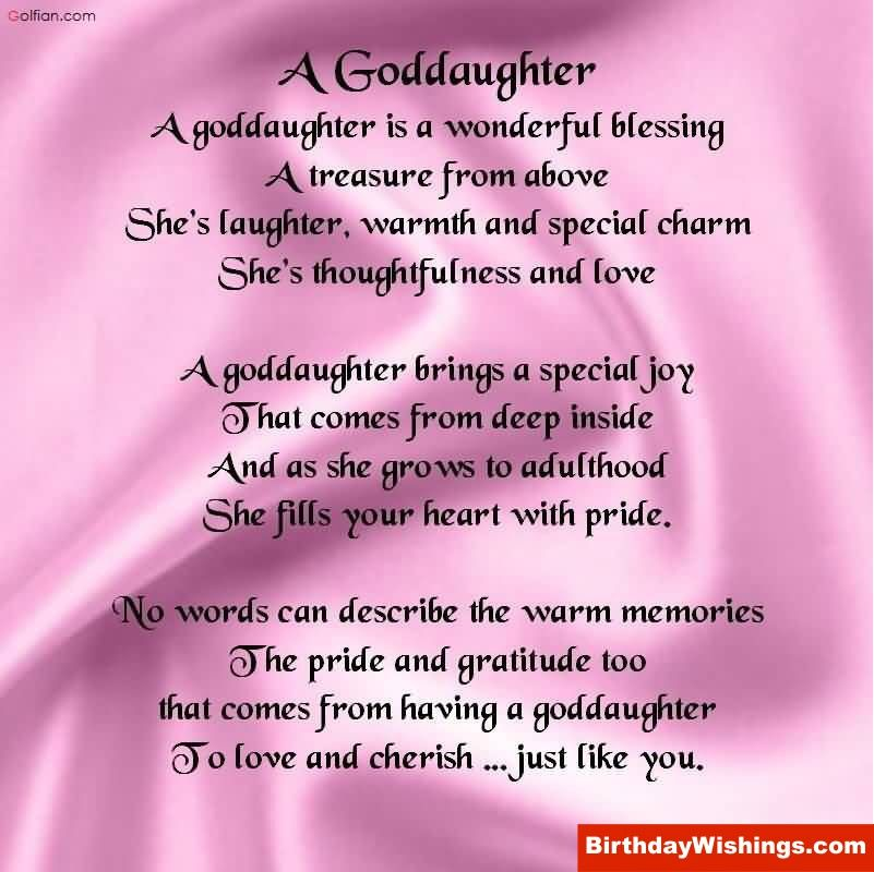 Birthday Poem For Daughter A Goddaughter Is A Wonderful Blessing A Treasure From Above Birthday Poems For Daughter Birthday Wishes For Myself Daughter Of God