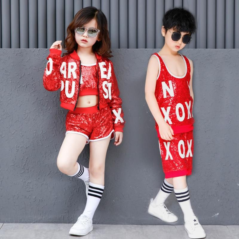 Kid Boy Girl Modern Jazz Hip Hop Dancewear Sparkle Sequins Street Dance Costumes