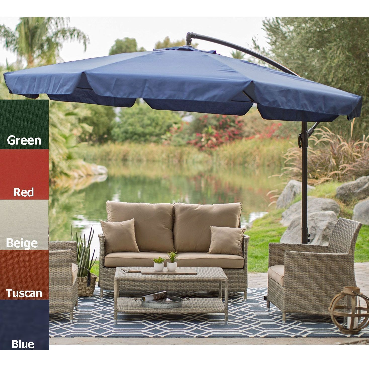 Tuscan Orange Red 11 Ft Offset Patio Umbrella Gazebo With Canopy Base And Detachable Mosquito Netting