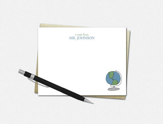 globe note cards personalized
