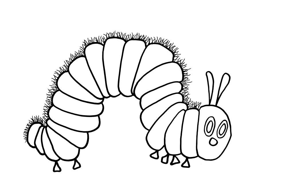 kleurprent in 2020  hungry caterpillar coloring pages