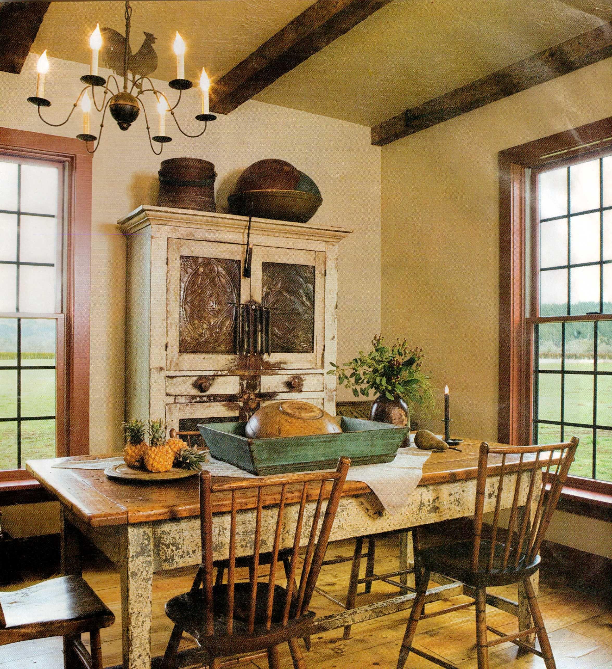 Prim Chippy Table U0026 Old Cupboard With Punched Tin Doors...beamed Ceilings.  ZuhauseFarbenStilSchlichte KüchenPrimitive ...