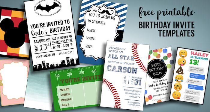Birthday Invitations Free Printable Templates