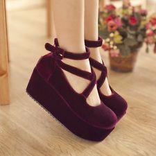 H Womens Lolita flat platform Ankle Cross Strap Wedge Heels Velvet Boot Zip Shoe