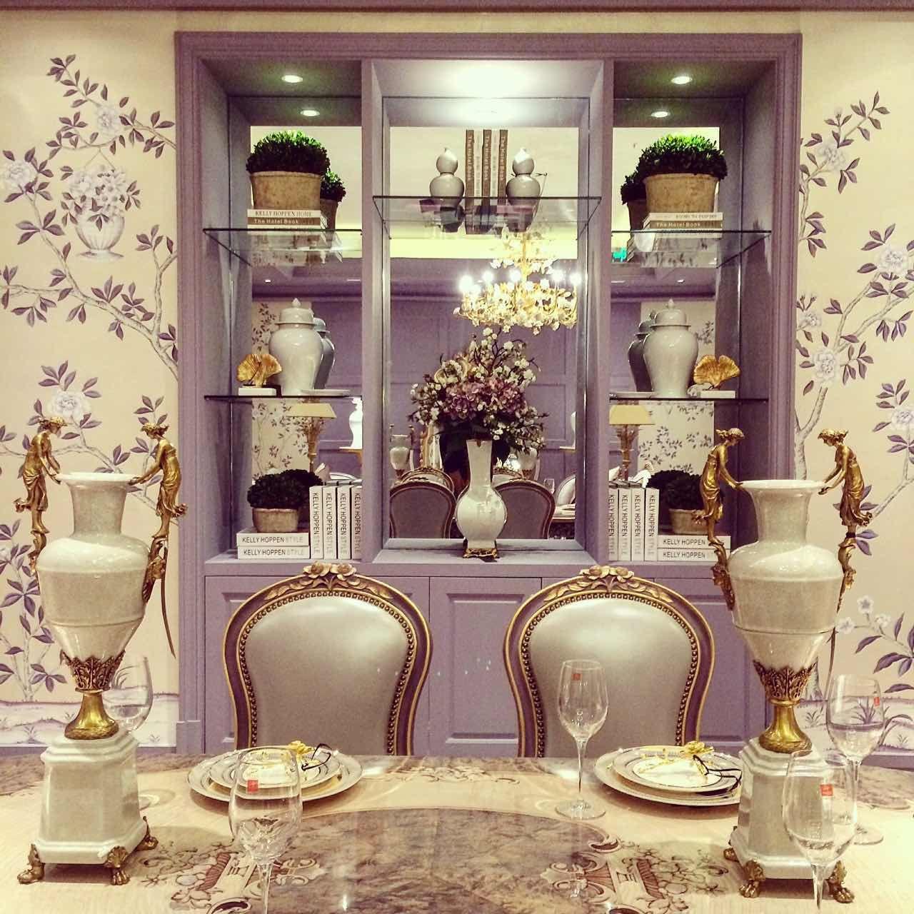 Alissa Sutton Interior Design Lavender gold chinoiserie custom designed wallpaper Dining room