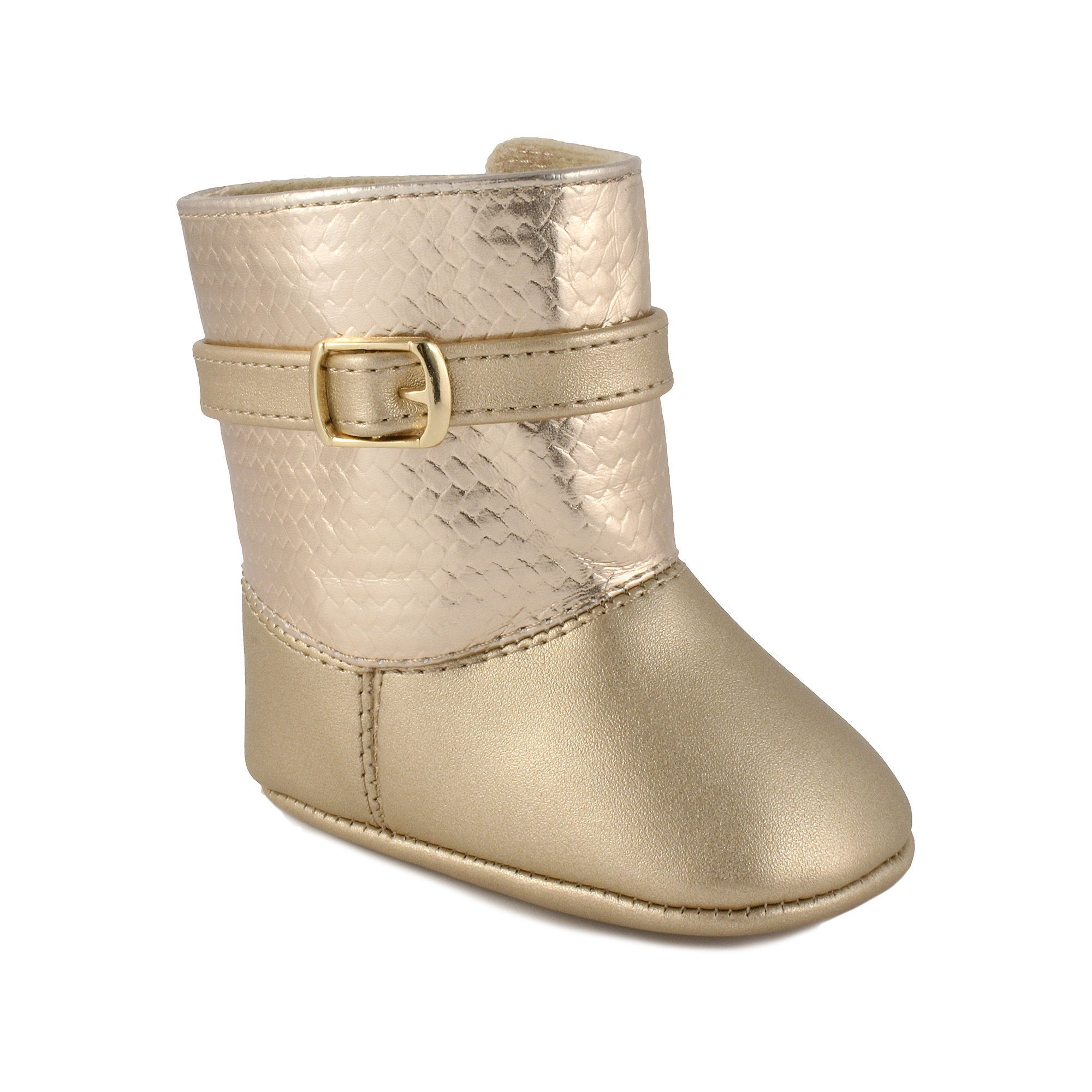 Baby Girl Wee Kids Metallic Boot Crib Shoes Size 2 Med Beige