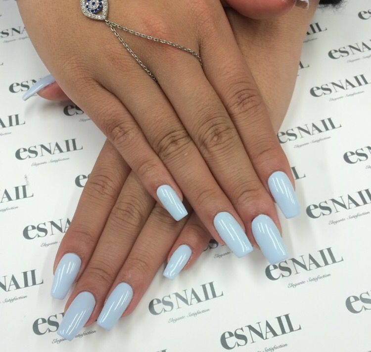 Perfect Nails For Tan Hands Nails Lightblue Blue Gel Nails Fake Nails Classy Acrylic Nails