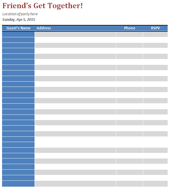 10 Guest List Templates Free Printable Excel Word Pdf
