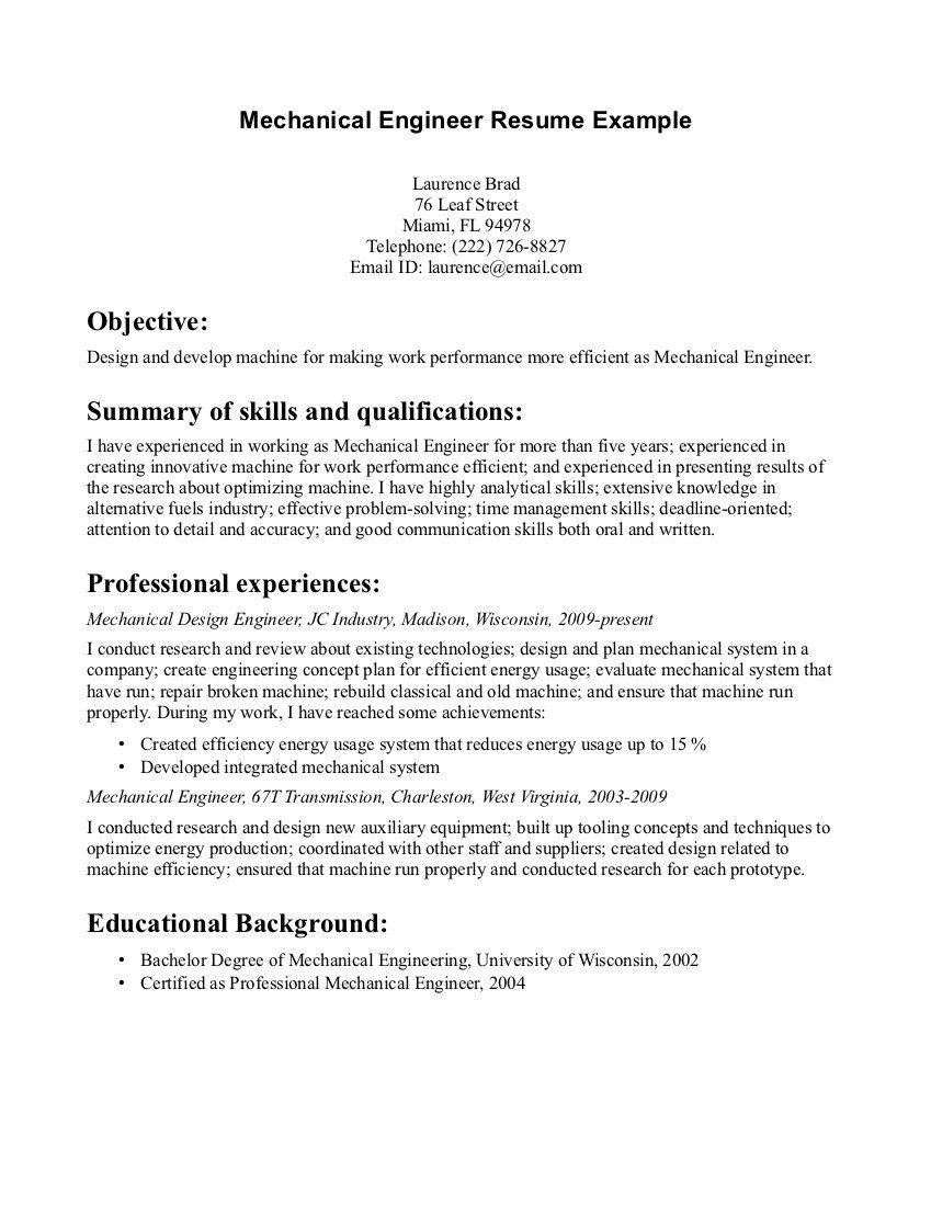 Internship Resume Objective Car Design Engineer Sample Resume Proposal Template Sample Writing .