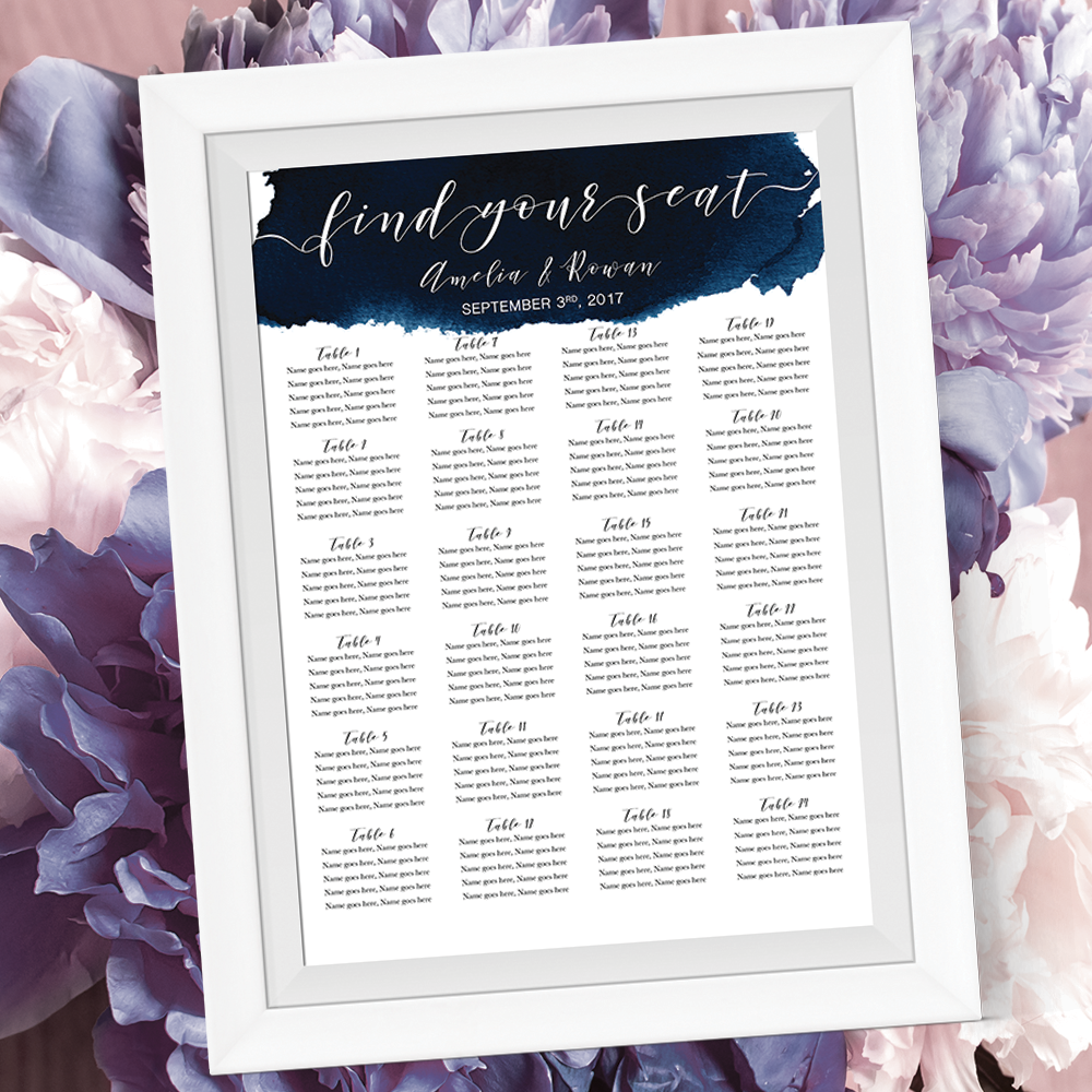 Watercolour Wedding Seating Chart In Navy Sooo Pretty This Listing Is For A Custom