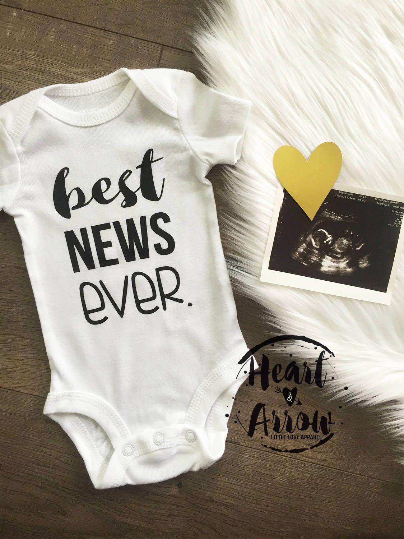Best news ever pregnancy announcement onesie bodysuit pregnancy reveal maternity photography