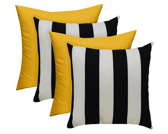 Set Of 4 Throw Pillows Black White Stripe Solid Yellow Etsy Striped Room Yellow Decor Living Room Grey And Yellow Living Room