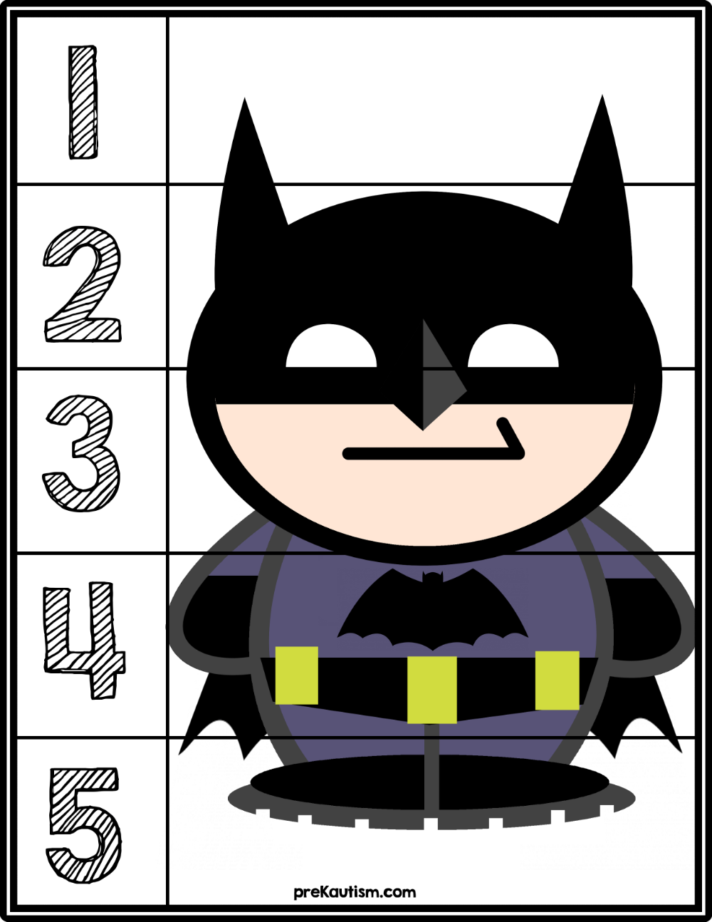Batman 15 Counting Puzzle Counting puzzles, Super hero