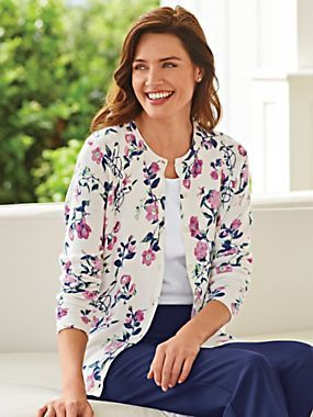 Printed Cardigan - <p> 	Everything you love about a classic cardigan, with the added appeal of a one-of-a-kind print. Button front; ribbed neckline, sleeve cuffs and he