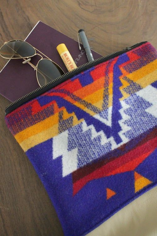 "Pendleton Wool and Leather Clutch Purse.Dimensions: 12"" high x 11"" wide."