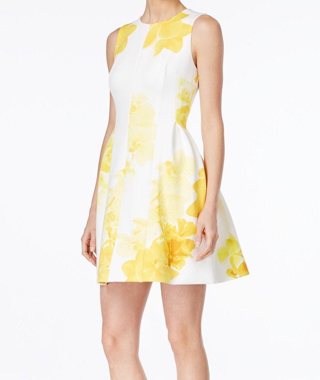 Calvin Klein Calvin Klein New Yellow Womens Size 4 Floral Print Flared Tea Dress Walmart Com Tea Dress Dresses Colorful Dresses [ 1073 x 903 Pixel ]