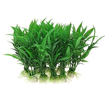 """Details about 6.5 """" Tall Plastic Aquarium Tank Plants Grass Decoration, 10-Piece"""