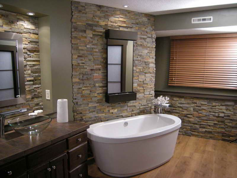 Lovely Stone Bathroom Tiles Ideas Part - 1: Love Love Love This Stone Tile Bathroom Wall!