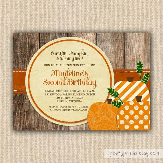 Pumpkin Patch Birthday Party Invitations Printable by PoofyPrints – Fall Birthday Party Invitations