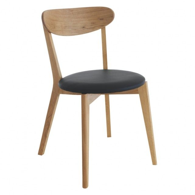 SOPHIE Oak dining chair with black seat pad – Oak Dining Chair