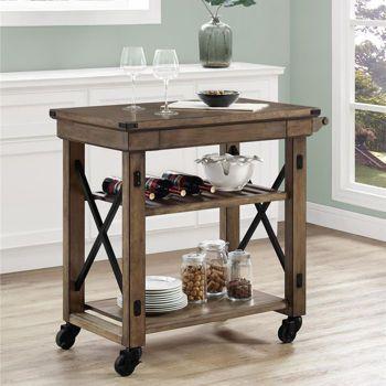 Wildwood Rustic Grey Kitchen Cart Costco Ca Rolling