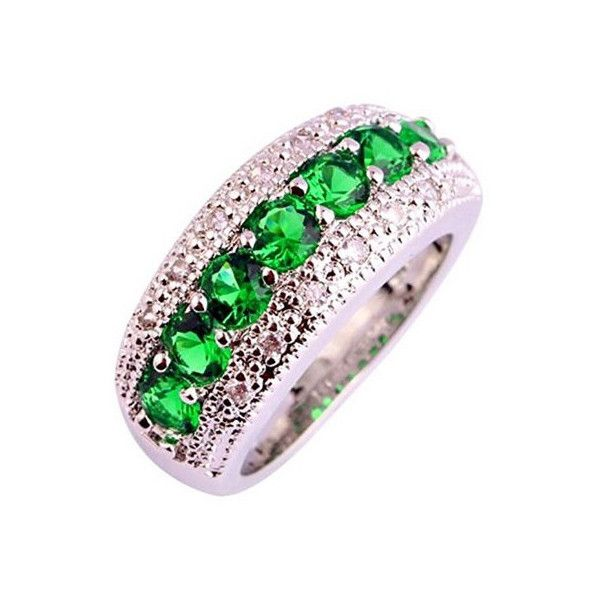 Emerald Quartz Diamond Simulated Round Cut Engagement Ring Wedding... ($20) ❤ liked on Polyvore featuring jewelry and rings