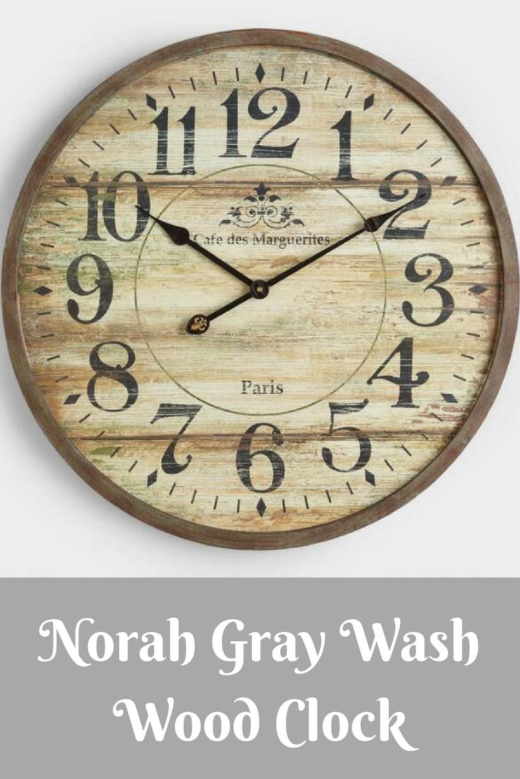 Cost Plus World Market Norah Gray Wash Wood Clock Beautiful Wood Ad Wood Clocks Clock Grey Wash