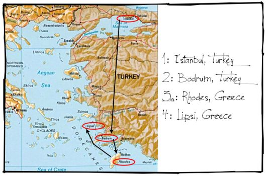 sweet life laur turkey greece map backpacking