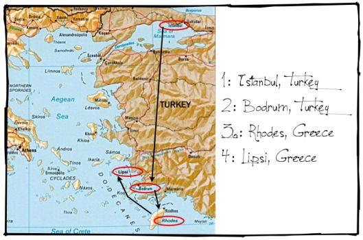 sweet life laur turkey greece map backpacking