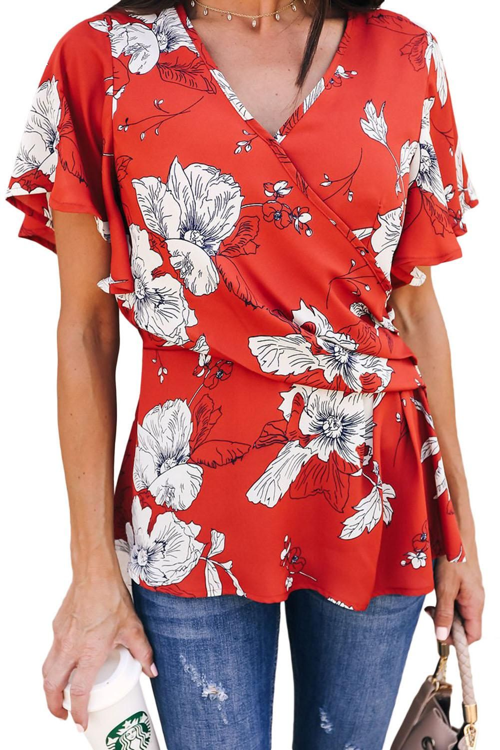 Red Floral Printed Twist Blouse