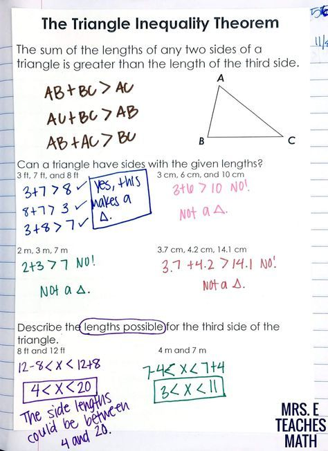 The Triangle Inequality Theorem Interactive Notebook Page ...