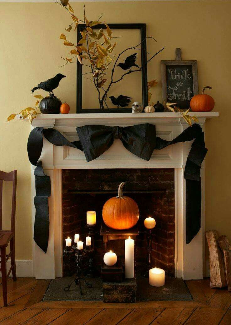 Halloween fireplace display Halloween Pinterest Display