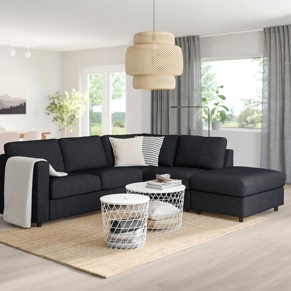 Vimle Corner Sleeper Sofa 4 Seat With Open End Tallmyra Black Gray Ikea In 2020 Modular Corner Sofa Corner Sofa Sofa Design