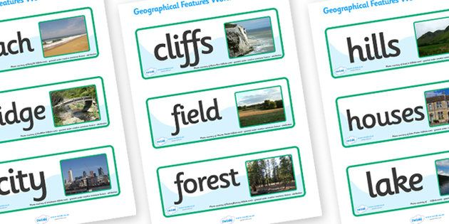 Geographical Features Word Cards - geographical features, topic ...