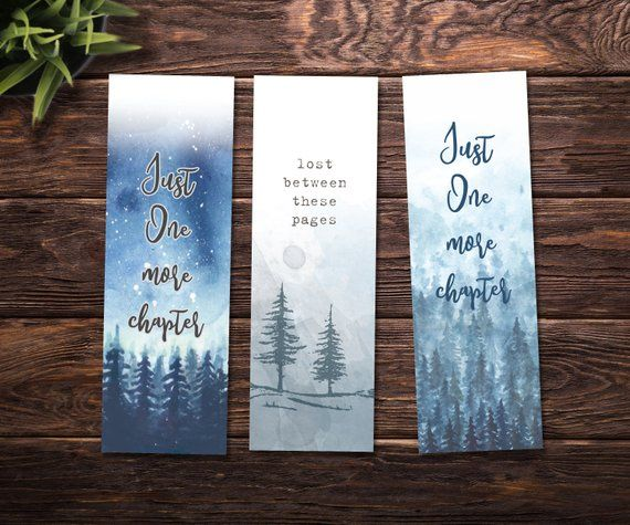 Printable Bookmarks Watercolor Bookmarks Set Of Three Printable