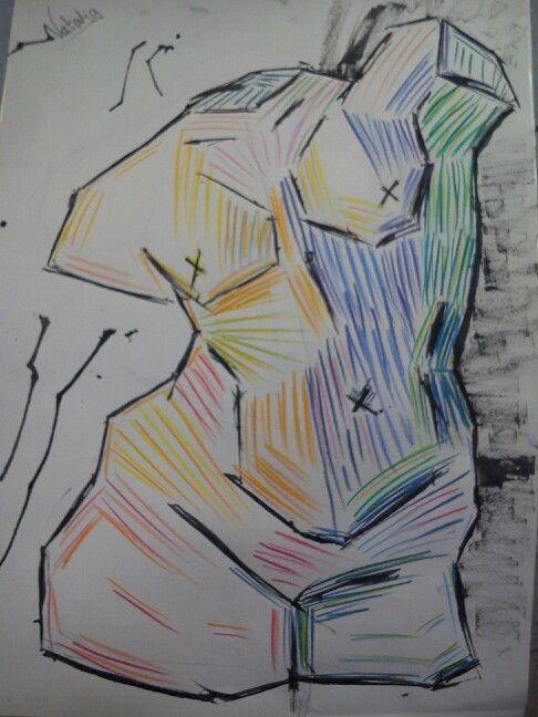 Interpretación personal del busto de PAU (Dibujo a tinta china y lápices de colores)