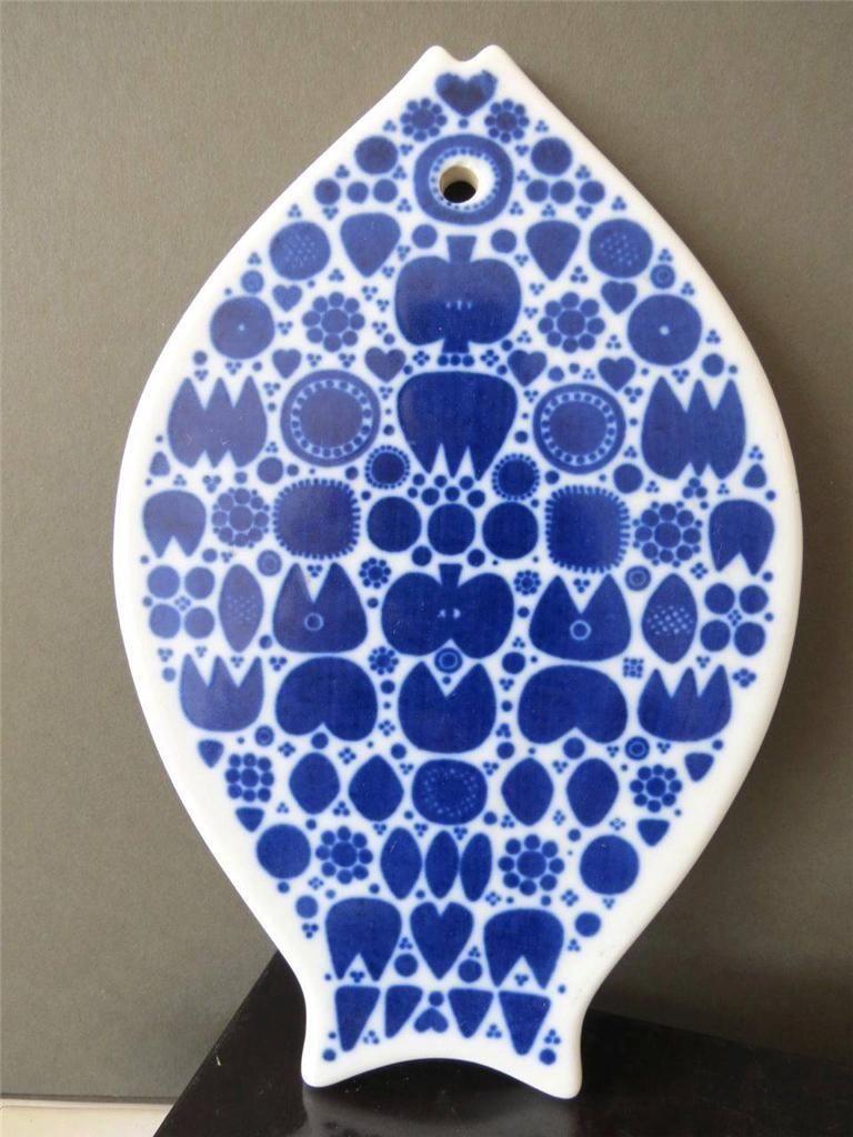 Vintage Ceramic Porsgrund Norway Blue White Fish Trivet Wall Plaque Hot Plate
