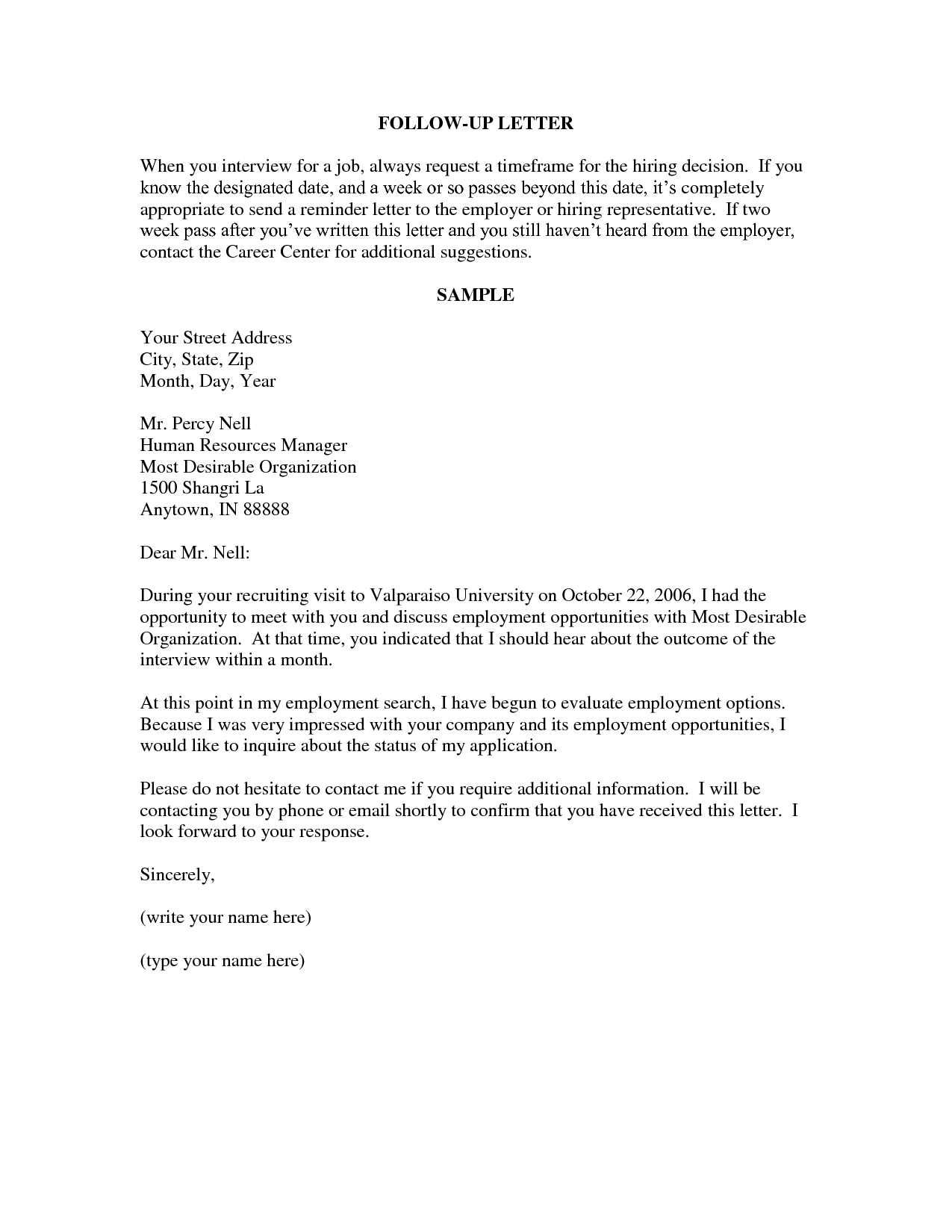 Employment Follow Up Letter  A Follow Up Or Thank You Note Can