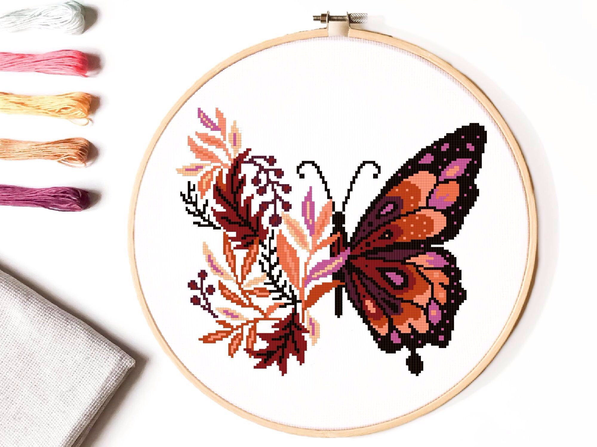 Photo of Floral Modern Cross Stitch Pattern, flower butterfly  counted cross stitch chart, nature, hoop embroidery, Instant download PDF
