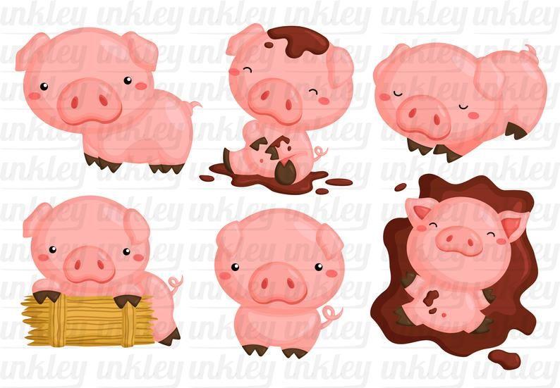 Cute Pig Clipart Cute Animal Clip Art Farm Animal Free Etsy Pig Clipart Cute Pigs Pig Illustration