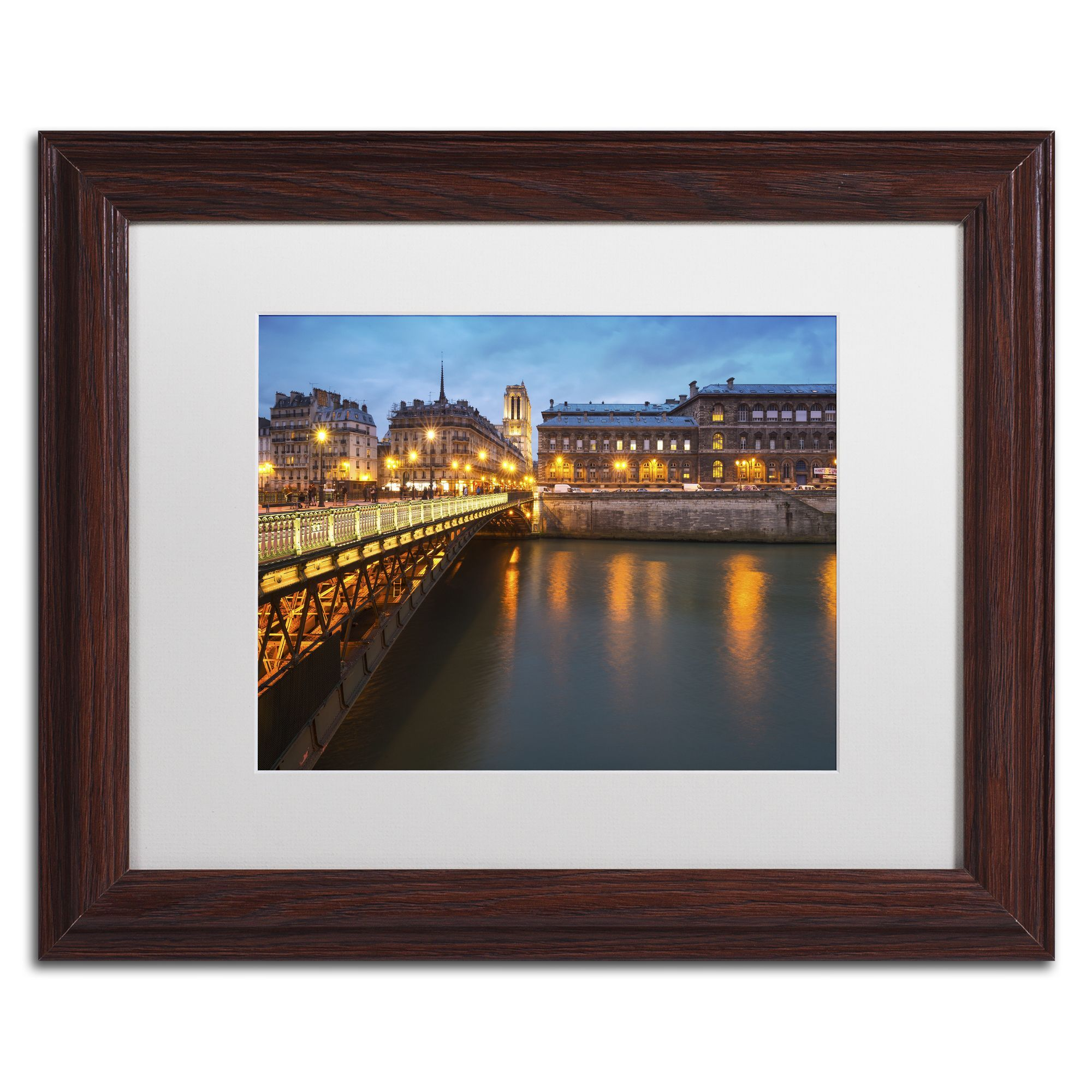 Mathieu Rivrin 'Bridge of Arcole in Paris 2' Matted Framed Art
