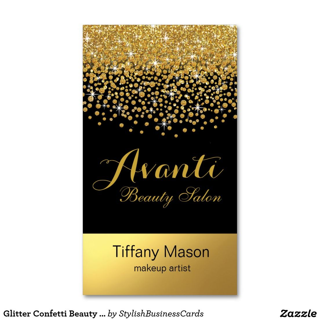 Glitter Confetti Beauty Salon | black gold foil Business Card ...