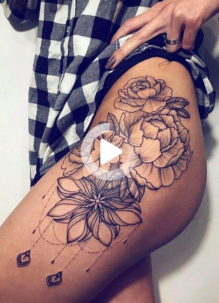 Photo of Black Chandelier Flower Hip Tattoo Ideas – Realistic Geometric Flowers Rose Ob