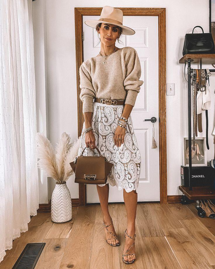 7 Ways to Style a White Lace Skirt | Karina Style Diaries