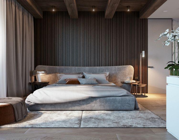 Schlafzimmer Farbkombination Grau Braun Wandgestaltung Teppich #innendesign  #interior #design