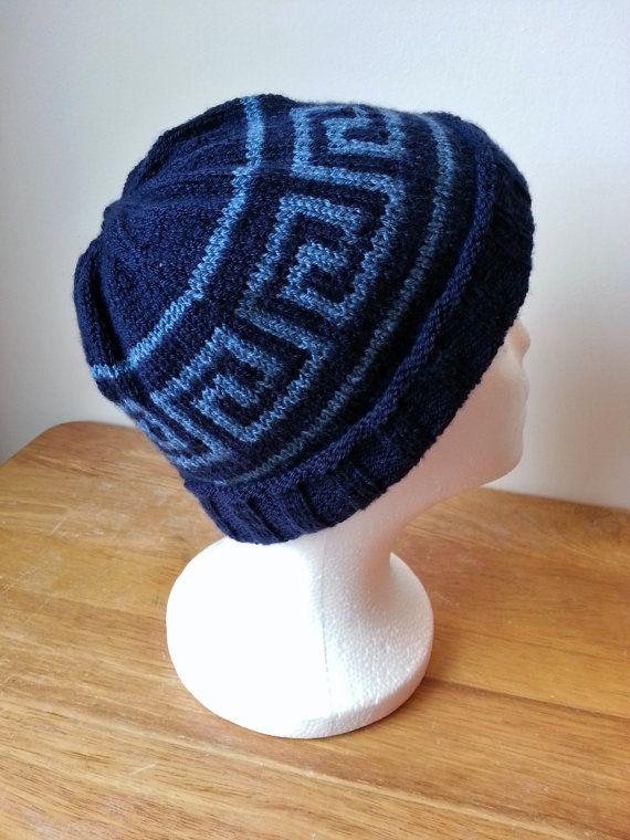 Hand Knit Greek Key Pattern Hat in Blue by ...