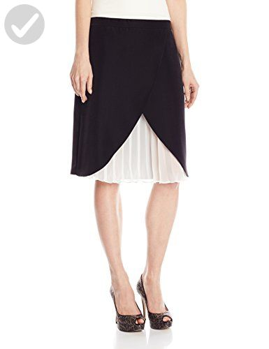 Amicia Bella Flap Front Pleated Kick Sarah Skirt M Midnight / Ivory - All about women (*Amazon Partner-Link)