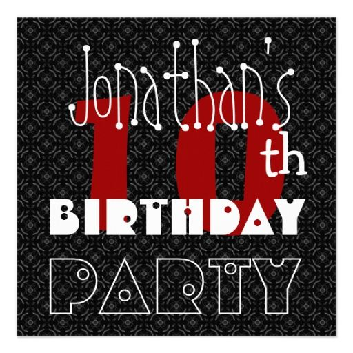 Kid's 10th Birthday Custom Name Black White Red Custom Invite