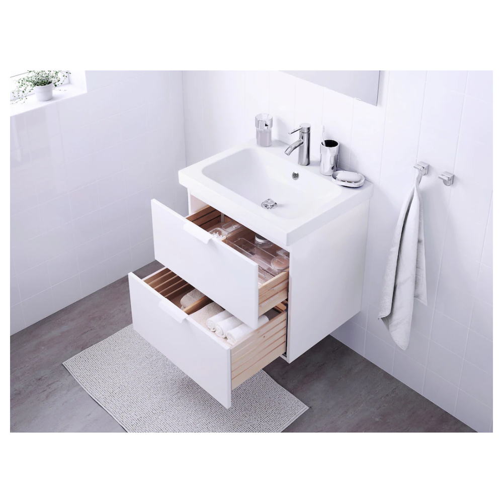 Photo of GODMORGON / ODENSVIK Sink cabinet with 2 drawers – white, Dalskär faucet – IKEA