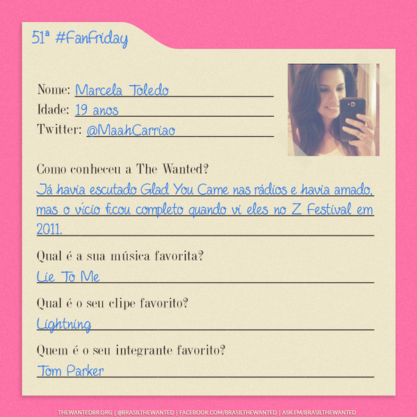 Quinquagésima primeira fã da semana: @MaahCarriao (28/11) #FanFriday